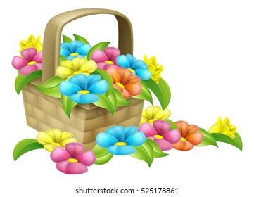 Corner design element of beautiful basket full of flowers