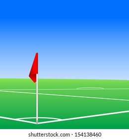 Corner flag concept. Soccer or football corner flag for kick pitch vector illustration