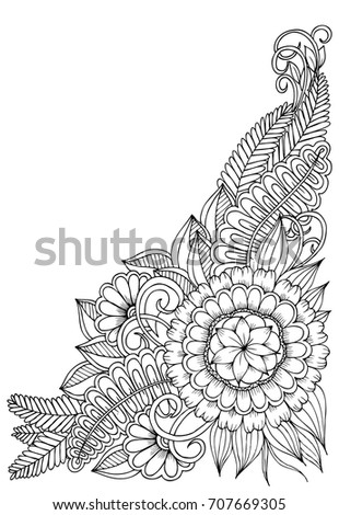 Corner Flower Pattern Black White Can Stock Vector Royalty Free