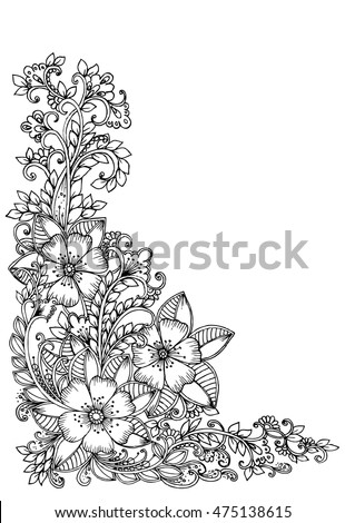 Corner Flower Pattern For Card Floral Doodle Illustration Design Elements Creative Ideas Zentangle Art