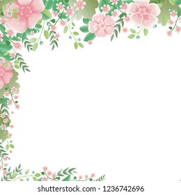 Corner frame of blooming twigs, roses, blueberries and leaves. Color vector.