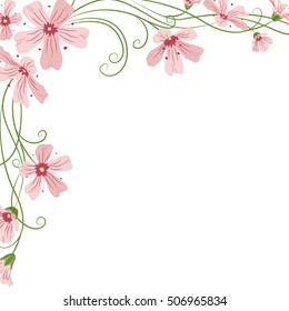 Corner frame template with pink purple gypsophila flowers and swirly leaves on white background. Vector design illustration floral garland element for decoration, print, card, invitation.