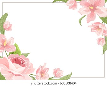 Corner frame template with rose sakura magnolia flowers on white background. Horizontal landscape orientation. Vector design illustration floral garland element for decoration, card, invitation.