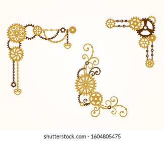 Corner of gears with chain and curls. Mechanism. Steampunk. Decorative elements, border for a stylish holiday greeting card, signage, labels. Vector design template