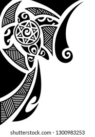 2ebe2a5ffc405 Corner ornament design maori style with turtle. Tattoo sketch