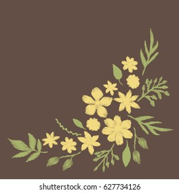 Corner pattern of yellow flowers embroidery design for clothing. Nature flowers embroidery patch vector decoration.