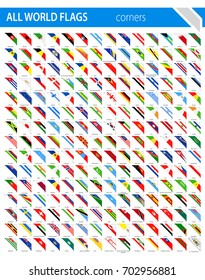 Corner Ribbon Flags - All World Vector illustration