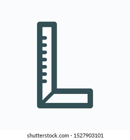 Corner ruler isolated icon, construction ruler linear vector icon