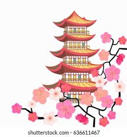 corner Sakura cherry Chinese pagoda five level  Vector illustration