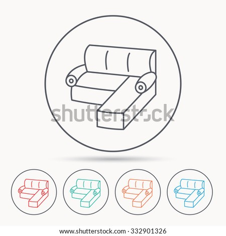 Corner Sofa Icon Comfortable Couch Sign Stock Vector Royalty Free