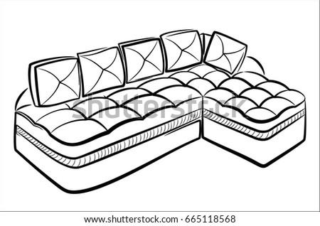 Corner Sofa Upholstered Furniture Outline Drawing Stock Vector