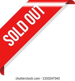 Corner Sold Out Ribbon Banner Vector, Illustration