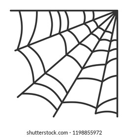 Corner spiderweb black linear icon. Halloween outline sign. Monochrome spider web thin line pictogram isolated on white backdrop. Graphic icon shape vector illustration. Closeup simple cobweb symbol