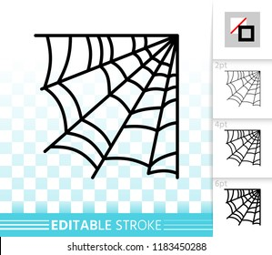 Corner web thin line icon. Cobweb vector linear symbol with different stroke width. Spiderweb outline of halloween. Editable stroke sign without fill. Spiderweb simple graphic pictogram on transparent