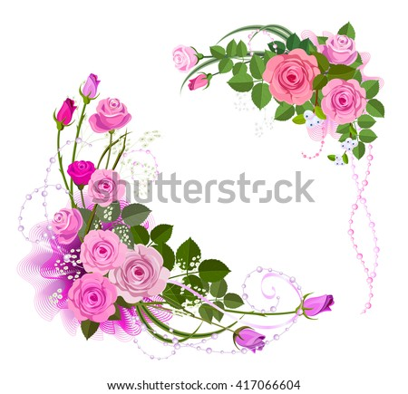 corners border form bouquet roses flower stock vector royalty free