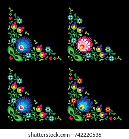 Corners border Polish floral folk art vector pattern - Wzory Lowickie, traditional designs  Traditional vector colorful print with flowers form Poland on black background