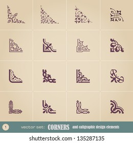 Corners and calligraphic design elements  set 1