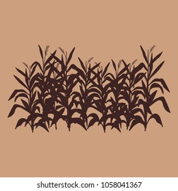 cornfield farm harvest vintage colour monochrome background vector illustration