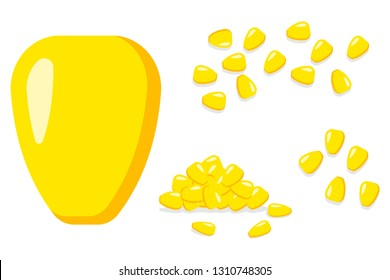 Corns seed vector cartoon flat illustration isolated on a white background. Pile of kernel grain set.