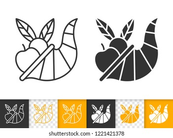 Cornucopia black linear and silhouette icons. Thin line sign of thanksgiving day. Abundance outline pictogram isolated on white transparent background. Horn of plenty Vector Icon simple symbol closeup