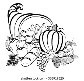 cornucopia black and white line drawing, use for logos, signs, magazine articles, news print, one color advertisements.