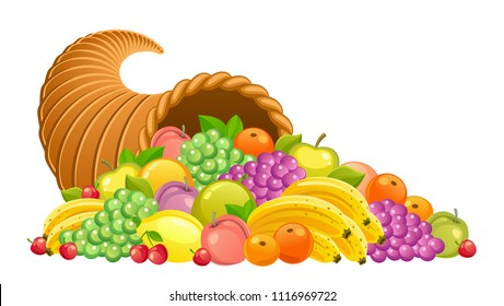 Cornucopia with fruits and berries on a white background