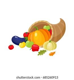 Cornucopia, horn of abundance, autumn harvest, fruits and vegetables, cartoon vector illustration isolated on white background. Cartoon cornucopia, horn of abundance, thanksgiving symbol, decoration
