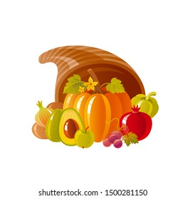 Cornucopia horn of plenty. Fruit & vegetable basket. Autumn & fall icon for harvest festival or thanksgiving day. 3d Cartoon autumn vector illustration with vegetable Fall Isolated on white background