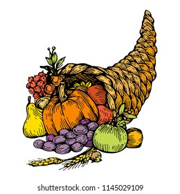 Cornucopia, horn of plenty with fruits, vegetables, apples, pear, grape and pumpkin. Hand drawn vector illustration ink outline, engraving vintage icon isolated on white background