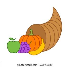 Cornucopia horn of plenty or thanksgiving basket flat vector illustration for apps and websites