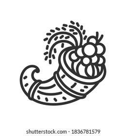 Cornucopia. Horn with seasonal fruits and vegetables, linear icon. Editable stroke