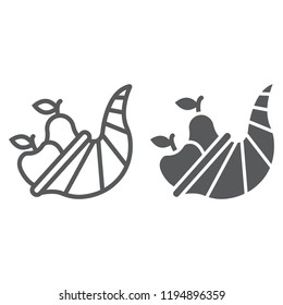 Cornucopia line and glyph icon, harvest and food, basket sign, vector graphics, a linear pattern on a white background, eps 10.