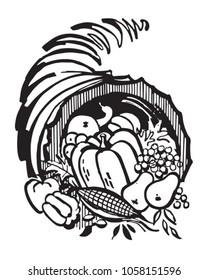 Cornucopia - Retro Clip Art Illustration