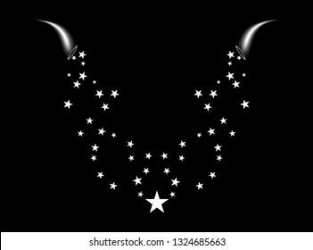 A cornucopia shoots a white star. Fireworks star random source of flow. Shooting star. Stars on a black background.