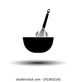 Corolla Mixing In Bowl Icon. Black on White Background With Shadow. Vector Illustration.