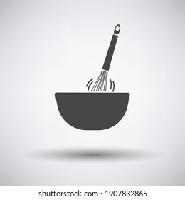 Corolla Mixing In Bowl Icon. Dark Gray on Gray Background With Round Shadow. Vector Illustration.