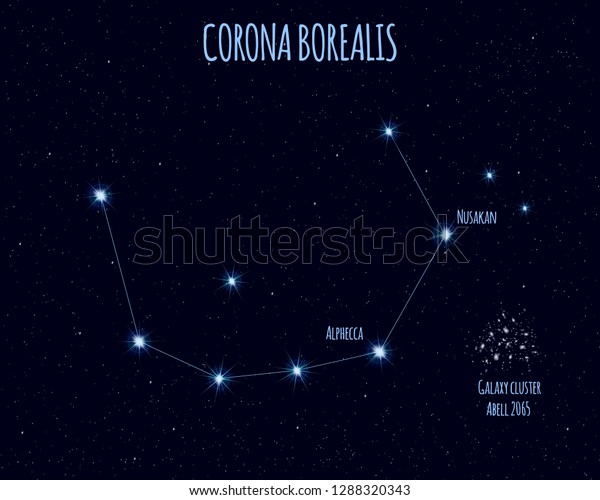 Corona Borealis Northern Crown Constellation Vector Stock Vector Royalty Free 1288320343