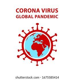 Corona global pandemic - planet earth encircled by virus Covid-19