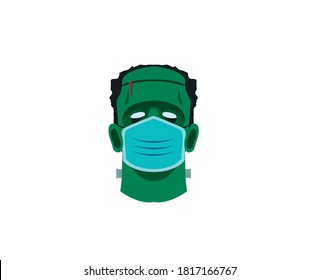 Corona Halloween Frankenstein monster Vector illustration on a white background. Frankenstein monster wearing a face mask. Covid 19 virus Halloween vector. For Halloween 2020 surgical face mask