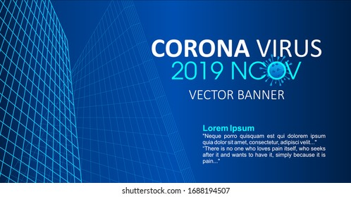 Corona virus -2019-nCoV Banner Word with Icons, concept coronavirus COVID-19. virus wuhan from china. Vector illustration
