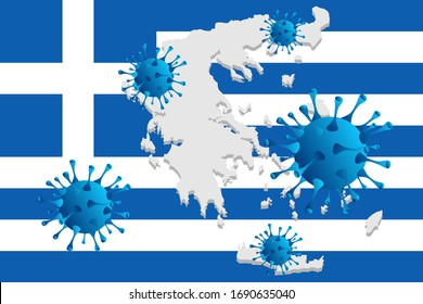 Corona virus -2019-nCoV and Greece flag, concept coronavirus COVID-19.  Vector illustration