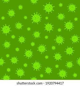 Corona virus 2019-nCoV pattern. Simple vector doodle seamless pattern of the coronavirus cells.