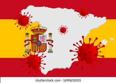 Corona virus -2019-nCoV and Spain flag, concept coronavirus COVID-19.  Vector illustration