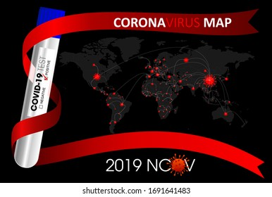 Corona virus -2019-nCoV and World spread Map, concept coronavirus COVID-19.  Vector illustration