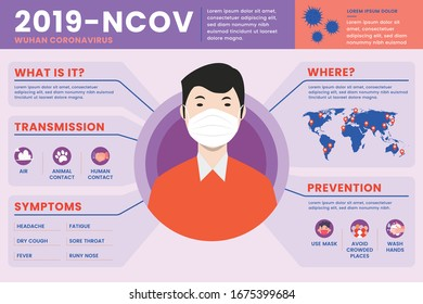 Corona Virus 2020 info graphic.  Infected countries and prevention tips. Health and medical vector illustration. CoVID-19 Virus outbreak spread. Corona virus infographics vecto