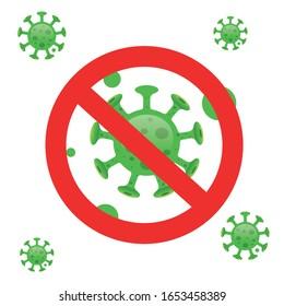 Corona Virus 2020. Corona Virus in Wuhan, China, Global Spread, and Concept of Icon of Stopping Corona Virus