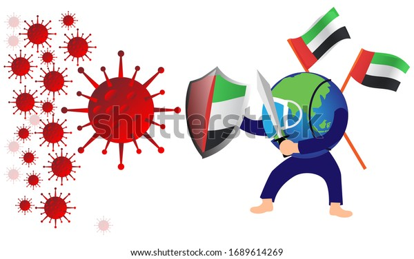 corona virus attack concept illustration uni emirate arab fight against corona virus concept how coronavirus attack on uni emirate arab