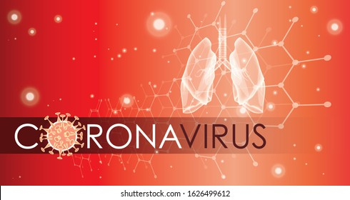 Corona virus banner for awareness or alert against disease spread, symptoms or precautions. Coronavirus banner design with infected lungs and virus microscopic view background. Respiratory system.