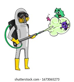 Corona virus, Cartoon character in protective suit is killing germs.