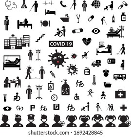 corona virus medical in hospital vector icon set